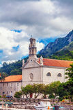 View on old ortodox church at moutains Stock Image