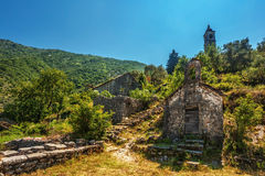 View on old ortodox church at moutains Stock Images