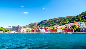 View on old own of bryggen in Norway stock photography