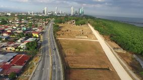 View of panama the old. View of old panama surrounded by the sea and trees stock footage