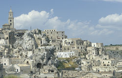 View of the old part of Matera, Italy. Partial view of Matera, Basilicata, southern Italy, with some of the Sassi in the lower part and the 13th-century royalty free stock images