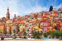 View on old part of Menton, Provence-Alpes-Cote d`Azur, France.  Stock Photo