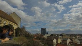 View of the old part of the Zagreb city. Croatian capital with twin towers of the cathedral stock video footage