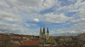 View of the old part of the Zagreb city. Croatian capital with twin towers of the cathedral stock footage