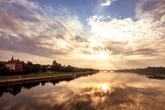 View of the old Polish town of Torun at dawn stock images