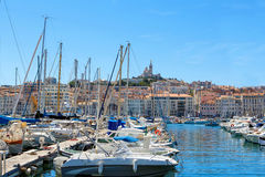 View on old port and basilica in Marseille, France Stock Photography