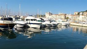 View of the old port of Cannes stock footage