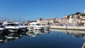 View of the old port of Cannes, France stock video
