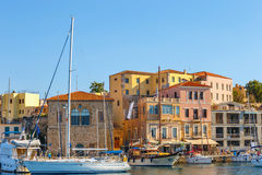 View of the old port of Chania on Crete, Greece Stock Photo