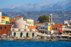 View of the old port of Chania on Crete, Greece Royalty Free Stock Photography