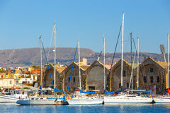 View of the old port of Chania on Crete, Greece Stock Photography