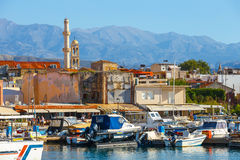 View of the old port of Chania on Crete, Greece Royalty Free Stock Images