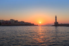 View of the old port of Chania, Crete Royalty Free Stock Images
