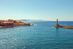 View of the old port in Chania, Greece Stock Image