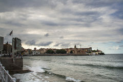 View on Old Port of Gijon and the Cantabric sea, Asturias, Northern Spain Royalty Free Stock Images