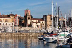View on Old Port of Gijon and Yachts Stock Photography