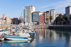 View on Old Port of Gijon and Yachts Stock Photos