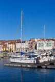 View on Old Port of Gijon and Yachts Stock Photo