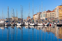 View on Old Port of Gijon and Yachts Royalty Free Stock Photo