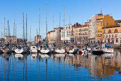 View on Old Port of Gijon and Yachts, Asturias, Northern Spain Royalty Free Stock Photography
