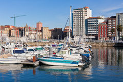 View on Old Port of Gijon and Yachts, Asturias, Northern Spain Stock Images