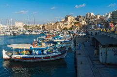 View of the old port of Herakleio of Crete in Greece royalty free stock photography