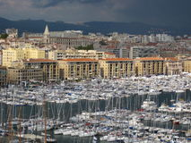 View of the old port of Marseille city in France. General view of the old port of Marseille in south of France Royalty Free Stock Photo