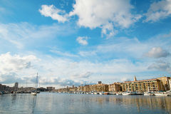 View of the Old Port in Marseilles. Wide angle shot Stock Photos