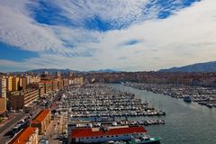 View of Old Port in Marseilles city. View of Old Port (Vieux-Port) of Marseilles (the oldest city of France) from Fort Saint-Jean Stock Photography