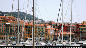 View of old port in Nice city Stock Photos