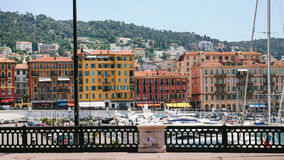 View of old port from quay in Nice city Royalty Free Stock Photography