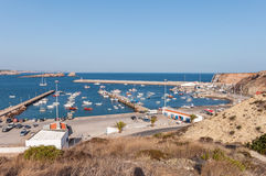 View of old port in Sagres with traditional fishing boats Stock Image