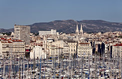 View from old port to Marseille, France. 