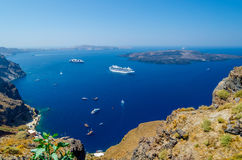 View on old port and Volcano of Santorini island Stock Photo