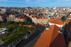 View of old Porto downtown from Clerigos Tower. Stock Photography
