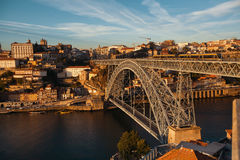 View of old Porto downtown and Douro river with Dom Luis I Bridge Stock Photos