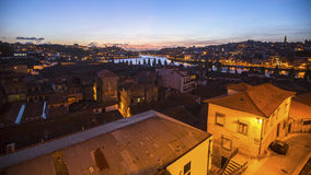 View of Old Porto at night time. Porto is called Northern capital of Portugal. Stock Photos