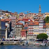 View of old Porto waterfront next to Douro River in Portugal stock images