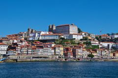 View of old Porto waterfront next to Douro River in Portugal royalty free stock photo