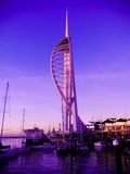 The view from old Portsmouth of the Spinnaker tower at night. Stock Image