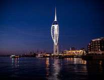 The view from old Portsmouth of the Spinnaker tower at night. Stock Photo