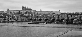 View of old Prague, Charles Bridge and St. Vitus Cathedral Royalty Free Stock Photos