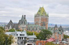 View of old Quebec and the Château Frontenac Stock Photos