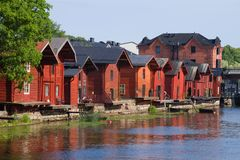 View of the old red barns on the Porvoonjoki river, afternoon. Porvoo, Finland stock photo