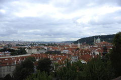 View of old red tiles roofs in the city prague czech republic europe beautiful Royalty Free Stock Photo