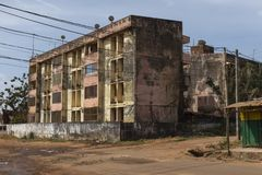 View of old residential buildings in the city of Bissau. Guinea Bissau stock photography