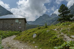 View of old rest-house close up  on the ecological walk toward Maliovitza peak in Rila mountain Stock Photography