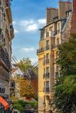 View with old restaurant with windmill Moulin de la Galett, Pari Stock Photography