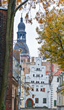 View on old Riga city with dome cathedral and medieval buildings Stock Photography