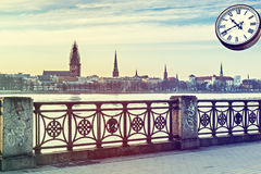 View on old Riga city from embankment of the Daugava river, Latvia. Royalty Free Stock Image
